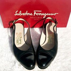 VTG Salvatore Ferragamo Cap Toe Sling Back Flats